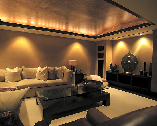 How To Plaster Ceilings Of Your Home : Contemporary Living Room With Venetian Plastered Ceiling With The Lighted Cable Tray Feel Warm Glow Plus Tpool Table Room Ceiling Copper And Dark Trim Recessed Lighting