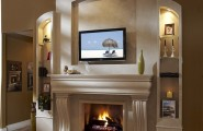 Modern Stone Models Fireplace For Simple Home Decoration : Contemporary Living Space Furniture Fireplace Mantel Kits Contemporary Fireplace Mantels