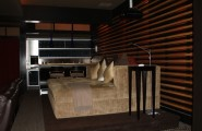 Functional Fold Up Couch Bed Designs : Contemporary Media Room Theater Design With Brown Couch Bed And Mini Bar