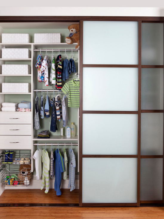 Beautiful Baby Closet Organizer Ideas: Contemporary Organized Closet Designed In Popular White Coco Melamine With The Aluminum Sliding Doors Feature A Walnut Finish And Inset Milky Glass Drawers And Slide Out Chrome ~ stevenwardhair.com Bedroom Design Inspiration