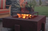 Terrific Propane Fire Pits Table For Decks And Patio : Contemporary Patio Propane Square Fire Pit Made In A Powder Coated Aluminum Finish Or Natural Rust Steel