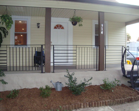 Exciting Custom Porch Railings Designs: Contemporary Porch With Custom Front Porch Metal Railing Iron Work Painted