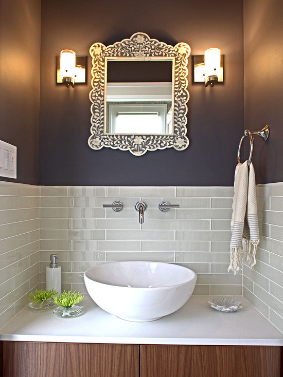Very Cool Bone Inlay Mirrors: Contemporary Powder Room With Bone Inlay Turns A Necessity The Mirror Into A Focal Point