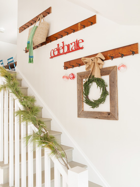 Home's Door Wreath Designs: Contemporary Staircase Another Wreath Filled Flea Market Wood Frame And A Pine Garland To Showcase Red Glass Ornaments And A Typography Sign That Captures True Spirit Of The Season