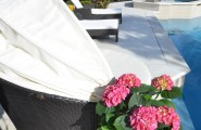 Comfortable Pappasan Chairs : Contemporary Swimming Pool With White Outdor Papasan Chair And Flowers