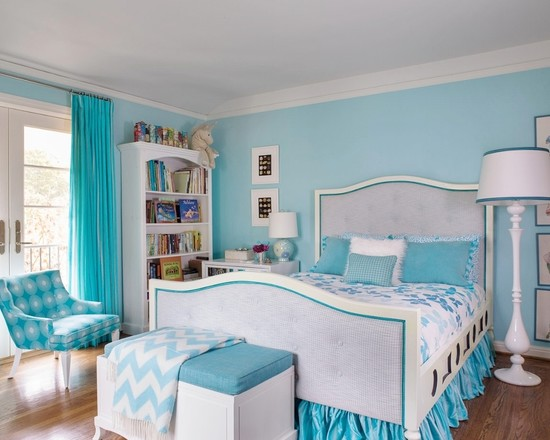 Beautiful Turquoise Girls Room: Contemporary The Girls Bedroom Features A Custom Desk And Chest Design A Vintage Re Finished Chair And A Shine Home Versaille Table Lamp ~ stevenwardhair.com Bed Ideas Inspiration