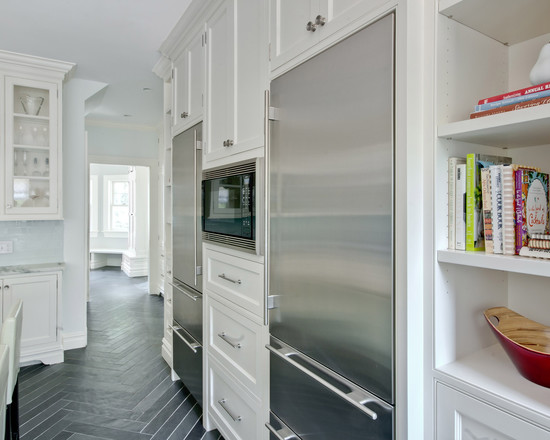 Contemporary and Traditional Kitchen With Sub Zero 36 Inch Refrigerator: Contemporary White Kitchen Integrated Fridges Sub Zero 27 All Freezer And 27 All Refrigerator White Cabinets Shelve And Drawer At Herringbone Tiles Floor Pattern ~ stevenwardhair.com Contemporary Home Design Inspiration