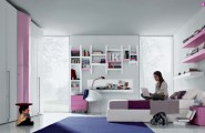 Cool And Elegant Teen Room Designs By Misura Emme : Cool And Elegant Light Gray Contemporary Teen Room Designs With White Pink Bookshelves Purple Bedding White Pink Floor To Ceiling Closet And Floor To Ceiling Glass Door