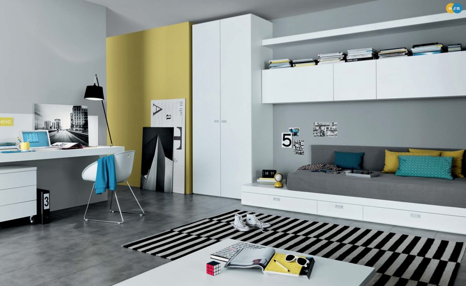 Cool And Elegant Teen Room Designs By Misura Emme : Cool And Elegant Light Gray Teen Room Designs With Mustard Wall And White Closet Integrated Bookshelves Above Bed With Drawer And Black White Stripe Rug