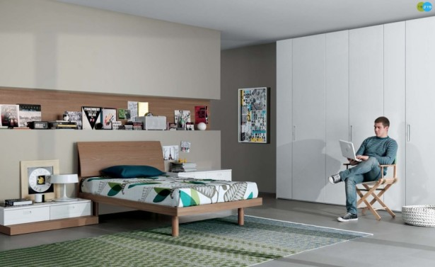 Cool And Elegant Teen Room Designs By Misura Emme: Cool And Elegant Light Grey Teen Room Designs With Wall Built In Bookshelves And Floor To Ceiling White Closet With White Bedside Table Wooden Bed And Green Pattern Area Rug ~ stevenwardhair.com Bed Ideas Inspiration