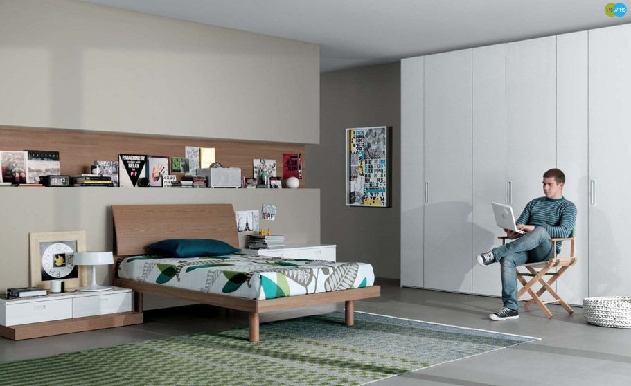 Cool And Elegant Teen Room Designs By Misura Emme: Cool And Elegant Light Grey Teen Room Designs With Wall Built In Bookshelves And Floor To Ceiling White Closet With White Bedside Table Wooden Bed And Green Pattern Area Rug