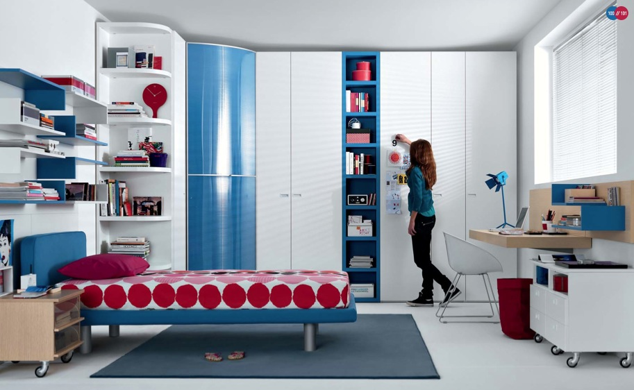Cool And Elegant Teen Room Designs By Misura Emme : Cool And Elegant Teen Room Designs Blue White Corner Closet Integrated Bookshelves With Wall Mounted Desk And On Wheel Bedside Table