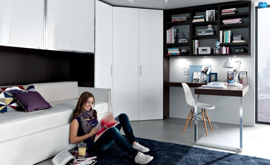 Cool And Elegant Teen Room Designs By Misura Emme: Cool And Elegant Teen Room Designs By MisuraEmme With White Corner Closet With Cabinet And Deep Brown Integrated Bookshelves With Desk And Blue Area Rug