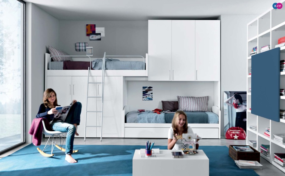 Cool And Elegant Teen Room Designs By Misura Emme: Cool And Elegant Teen Room Designs With Bunk Bed Integrated With White Clo0set With Floor To Ceiling Glass Window And White Bookshelves