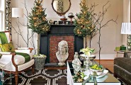 Beautiful Living Rooms Christmas Decoration Ideas : Cool And Simply Christmas Small Living Room Decoration With Lighting On Xmas Tree And Dry Twigs Ideas