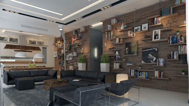 Inspiring Studio Apartment For City Living : Cool Apartment For Living And Studio Purposes Grey Fur Rug Remarkable Black Sofas Studio Apartment Interior Rustic Wood Coffee Table