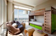 Space Saving Ideas: Various Bunk Beds Design Ideas : Cool Apartment Teenage Bedroom Interior Design Wooden Bunk Beds With Light Green Drawer And Large Glass Window Unique Wooden Table Leather Palm Chair