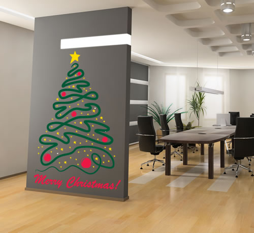 All Kind Of Christmas Holiday Wall Decals : Cool Artistic Christmas Tree With Yellow Stars Divider Wall Decal