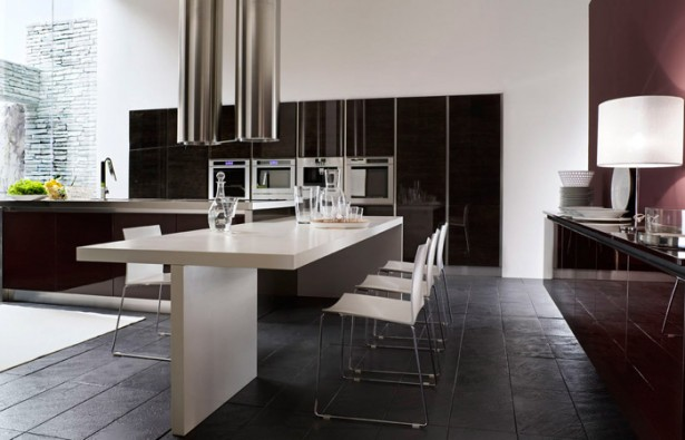Bright Sleek Bold Black Kitchen: Cool Astoning Large Black And White Kitchen Design With Kitchen White Kitchen Isle With D Washbasin With Black Long Tea Table Large With View High Glass Windows ~ stevenwardhair.com Chairs Inspiration