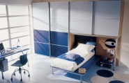 Astonishing Blue Decoration Color For Boys Bedroom Design Ideas : Cool Astonishing Decoration Blue Color For Boys Bedroom Design Accent Fabrics And Wall Mural Ensure That The Stylish Modern Spacious Bed In Blue And Grey