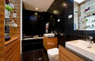 Luxurious Bathroom Designs For Apartments Ideas : Cool Bachelor Apartment Bathroom Design With Crocodile Motive Tile And Wooden Cabinetry Ideas