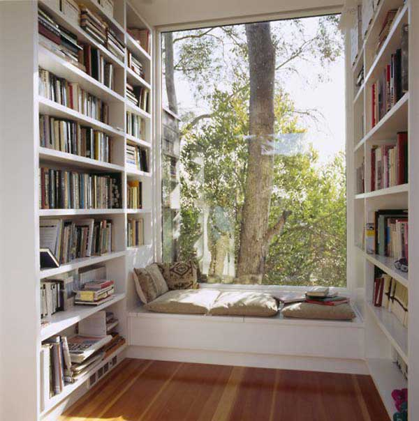 Ideas For Window Seats: Cool Backyard View Library Room Window Seats Design With Cushions Book Shelves Wooden Flooring Ideas