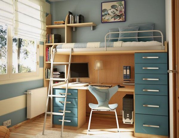 Cool Bedrooms For Teens: Cool Bedroom For Teens 10 Bed Integrated With Desk Computer Chair Chest Of Drawer Shelf Stair Wood Flooring Ideas