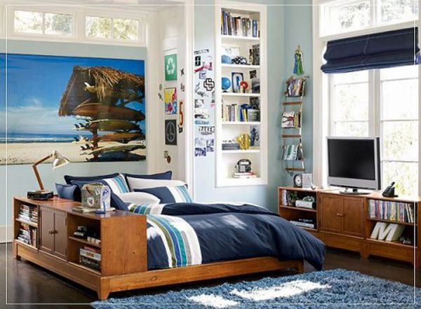 Cool Bedrooms For Teens : Cool Bedroom For Teens 18 Wood Bed Integrated With Bookshelf Shelves Lamps Wallpaper Rug Wodden Flooring Ideas