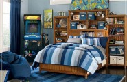 Cool Bedrooms For Teens : Cool Bedroom For Teens 2 With Wooden Bed Bedcover Pillows Shelf Storages Rug Wooden Flooring Ideas