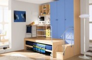 Cool Bedrooms For Teens : Cool Bedroom For Teens 3 Bed Integrated With Closet Desk Shelf Arch Lamps Rug Wooden Flooring Ideas By ZG Group
