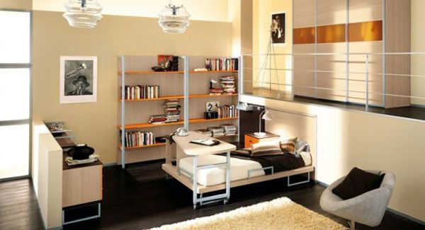 Cool Bedrooms For Teens: Cool Bedroom For Teens 7 Desk Rolling Table Bed Bookshelf Lamps Chair Closet Rug Wooden Flooring Ideas By ZG Group