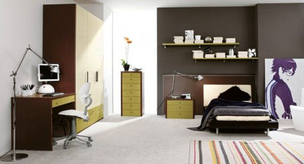 Cool Bedrooms For Teens : Cool Bedroom For Teens 8 Closet Desk Computer Chair Arch Lamp Shelf Low Profile Bed Rug Flooring Ideas By ZG Group
