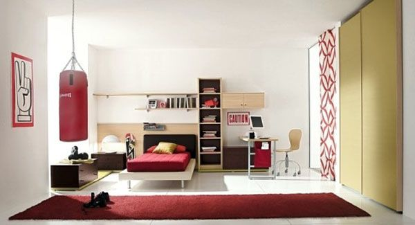 Cool Bedrooms For Teens: Cool Bedroom For Teens 9 Low Profile Bed Shelf Chest Of Drawer Table Computer Chair Closet Rug Tile Floors Ideas By ZG Group