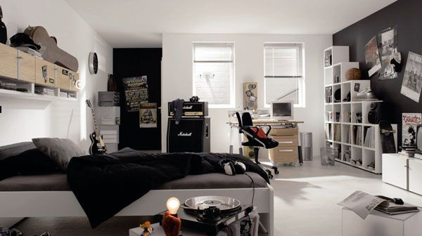 Cool Bedrooms For Teens: Cool Bedroom For Teens Musician 16 Band Desk Computer Chairs Guitar Amplifier Turntable Shelves Ideas
