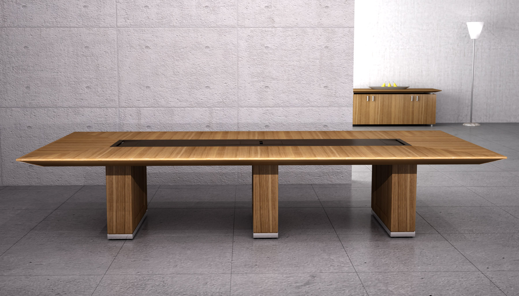 Various Awesome Conference Table Design : Cool Bench Style Low Profile Modern Wooden Conference Table Design Ideas