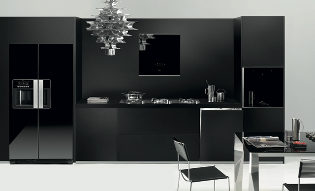 Unique And Innovative Kitchen Concepts Ideas: Cool Black Concept Modern Kitchen Cabinet Design With Stainlees Steel Mirror Door Refrigerator With Unique Pendant Light With Black Dining Table And Chairs