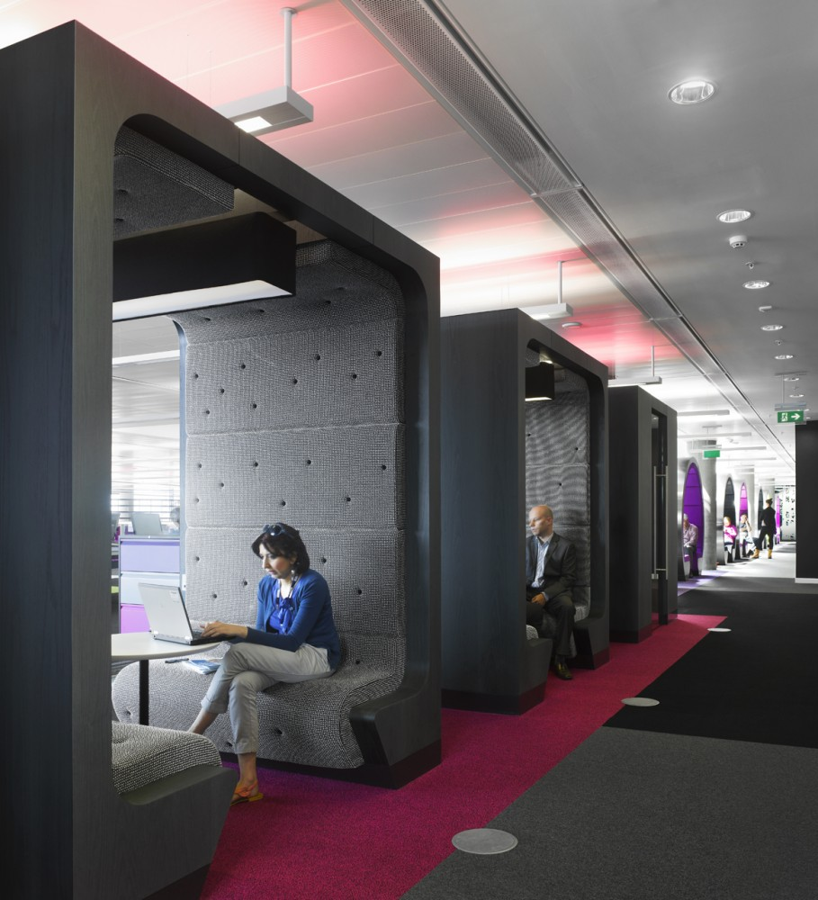 Breathtaking, Creative And Colorful BBC North Office: Cool Black Square Meeting Pod Design With Gray Seat And Padded Wall In BBC North Office Open Atrium