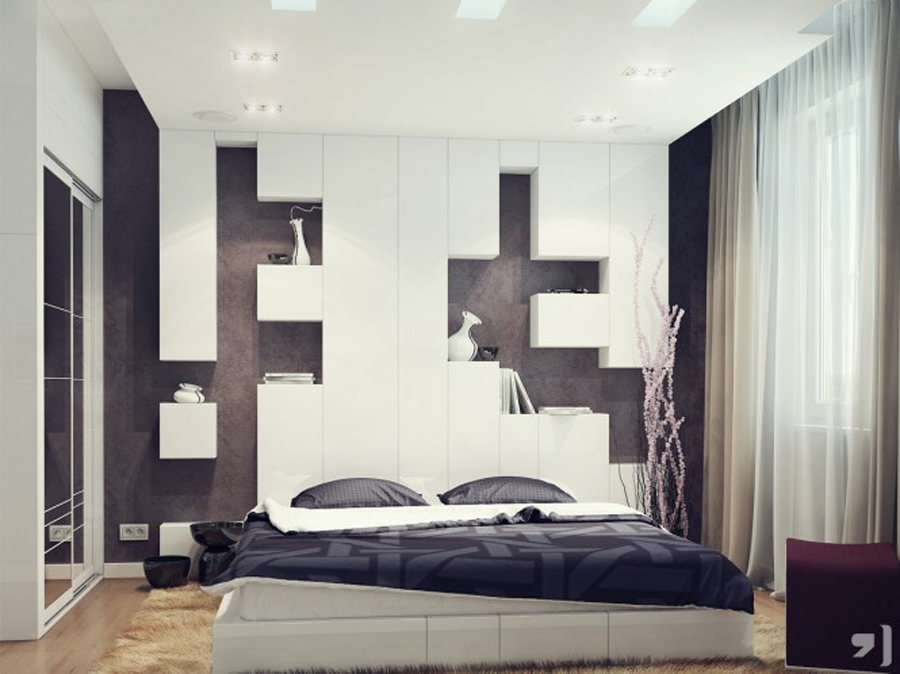 Astonishing Lovely Adult Bedrooms Clusters Design Ideas: Cool Black White Bedroom With Captivating Laminated Dark Brown Wood Floor Design White Bed Frame Black Quilt Cream Curtain