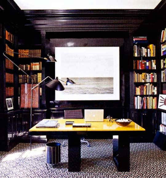 Old Fashion Captivating Home Office Design Ideas: Cool Calm And Collected Stylish And Dramatic Masculine Home Offices With Natural Plantings In A Large Office With Round Bokshelves Cabinet With Black Lacquer ~ stevenwardhair.com Bookshelves Inspiration