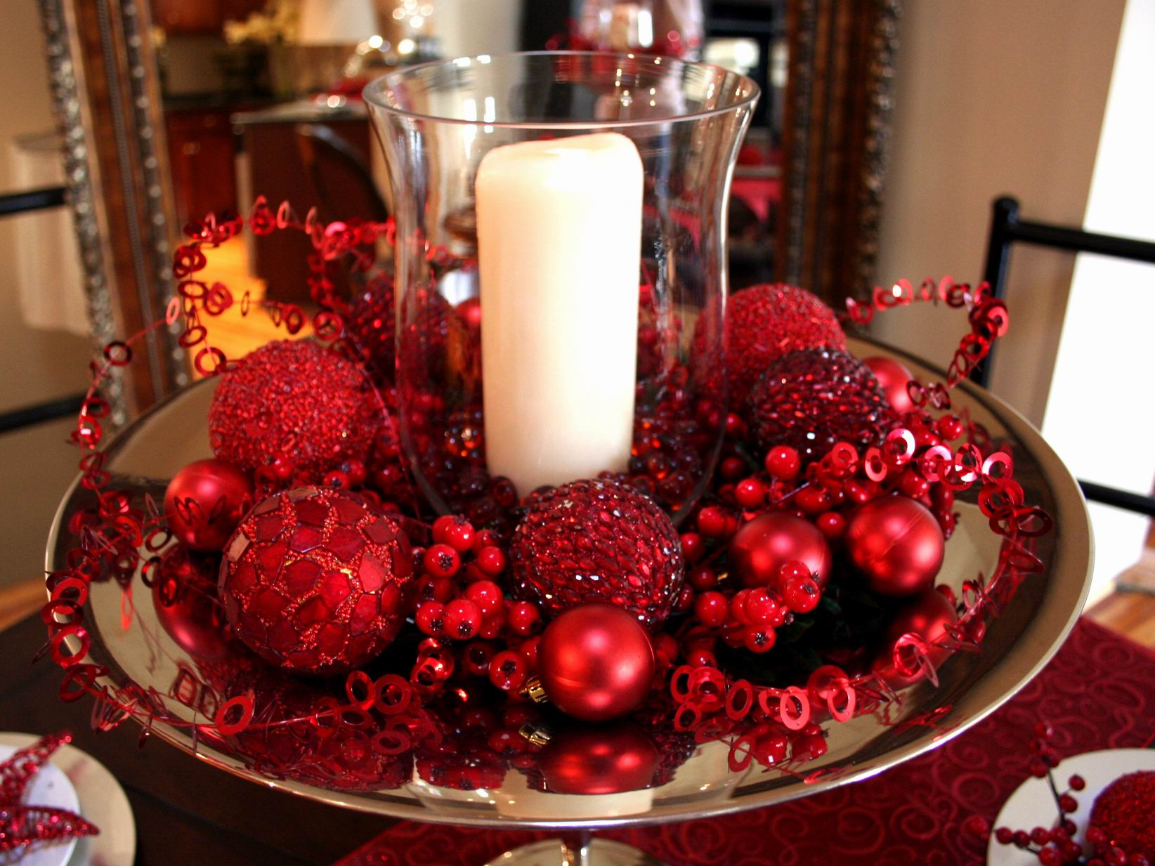 Fascinating Christmas Banquet Table Decoration Ideas : Cool Christmas Banquet Table Decoration Ideas With Exotic Red Christmas Decor With Chic White Candle Holder In Unique Glass And Stainless Tray