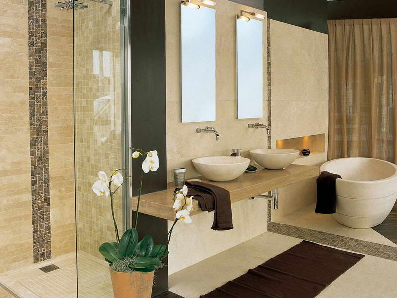 Art Deco Bathroom Designs To Inspire Your Relaxing Sanctuary: Cool Contemporary Brown Color Bathroom Wall Tile Design With Bathroom Vanities And Indoor Plant