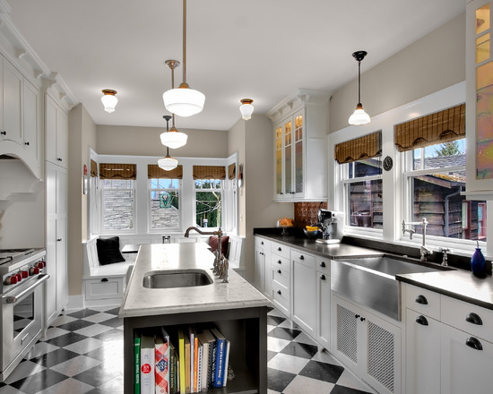 Cozy Black Tin Backsplash: Cool Craftsman Kitchen Black Tin Backsplash Curve Over Stove Floor Pendants All Contribute To This New Kitchens Vintage Charm