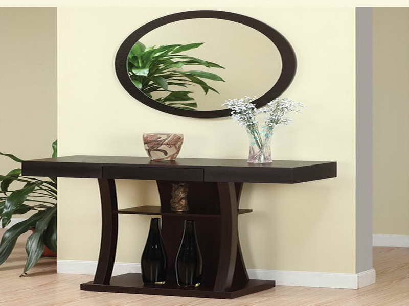 Inspiring Entryway Furniture Design Ideas: Cool Dark Brown Wooden Entryway Tables Design And Oval Wood Frame Mirrors Design With Indoor Plants