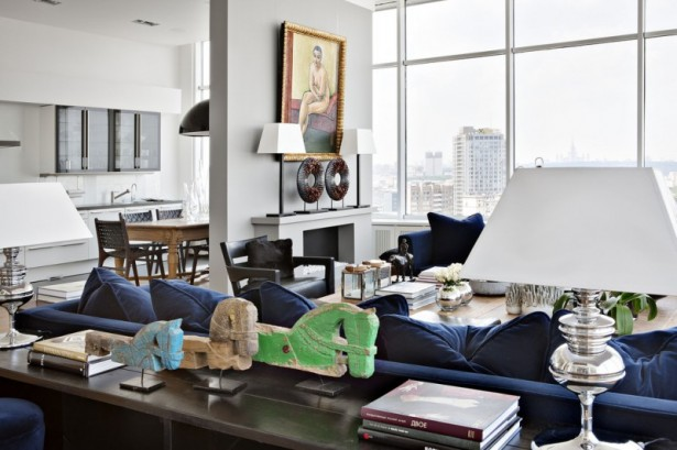 Inspiring Cozy Apartment Design Ideas In Bright Colors: Cool Deep Blue Sofa With Deep Blue Cushions And Tablelamp Indoor Fireplace Dining Table Bay Window With Great View ~ stevenwardhair.com Apartments Inspiration