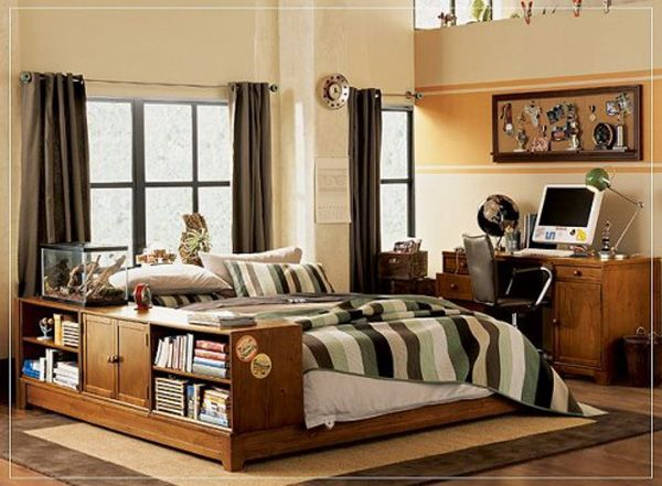 Cool Bedrooms For Teens: Cool Delight Bedroom For Teens 6 Bookshelf Integrated With Wood Bed Bedcover Pillows Storages Desk Computer Chair Lamps Curtain Rug Wooden Flooring Ideas