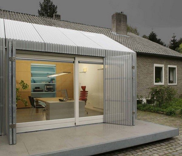Inspiring Home Office Ideas: Garage Turned Into Delightful Small Office In Netherlands : Cool Delightful Small Home Office From Garage Design With Aluminum Roof And Wall Large Glass Sliding Door And Large Glass Window Ideas