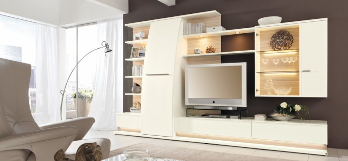 Great Design For Modern Living Room Furniture Ideas: Cool Design For Modern Living Room Furniture Ideas White Media Modular Wall Units Mounted Cabinet Living Rooms Bright Interior Lighting