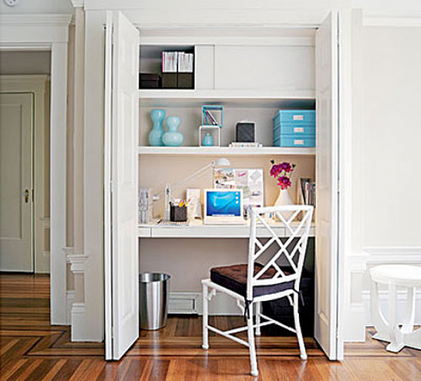 Build Your Desk In A Closet: Cool Desk In Closet Ideas Chair Wall Shelf Door Wooden Flooring ~ stevenwardhair.com Bookshelves Inspiration