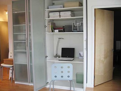 Build Your Desk In A Closet: Cool Desk In Closet Ideas Glass Door Computer Lamps Chair Shelf Wooden Flooring