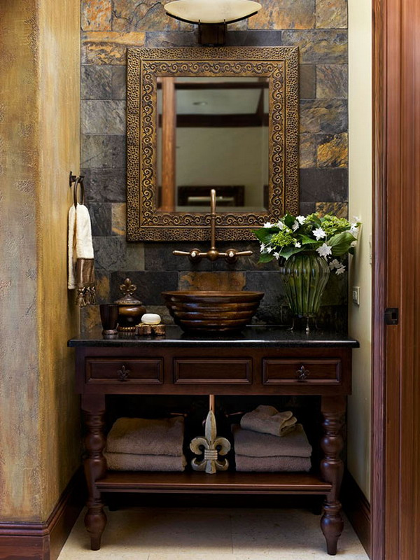 Captivating Bathroom Vanity Ideas For Small Bathrooms Design : Cool Eclectic Small Bathroom Vanity Design With Slate Wall Mirror Cabinet Vessel Sink Ideas